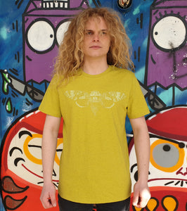 Cicade Glow in the Dark - Loenatix Organic Cotton Fairtrade T-shirt color Yellow on Model Animal Print T-shirt