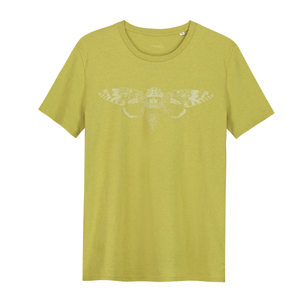 Cicade Glow in the Dark - Loenatix Organic Cotton Fairtrade T-shirt color Yellow Animal Print T-shirt