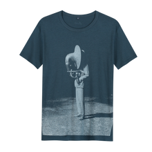 Load image into Gallery viewer, Heartcore Tuba - Loenatix Organic Bamboo Fairtrade T-shirt color Denim Blue Abstract Print T-shirt