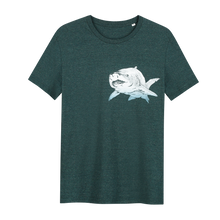 Load image into Gallery viewer, Shark T-shirt - Loenatix Organic Cotton Fairtrade T-shirt Animal Print T-shirt color Glazed Green
