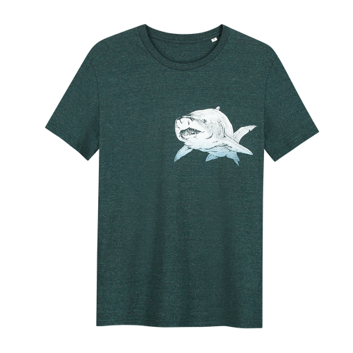 Shark T-shirt - Loenatix Organic Cotton Fairtrade T-shirt Animal Print T-shirt color Glazed Green