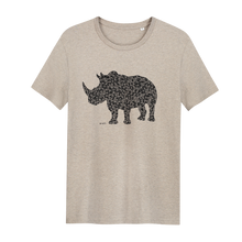 Load image into Gallery viewer, Rhino Heather Sand - Loenatix Organic Cotton Fairtrade T-shirt Animal Print T-shirt color Heather Sand