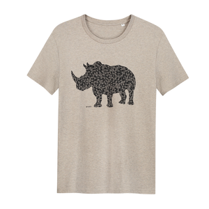 Rhino Heather Sand - Loenatix Organic Cotton Fairtrade T-shirt Animal Print T-shirt color Heather Sand