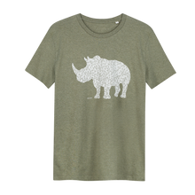 Load image into Gallery viewer, Rhino Khaki Green - Loenatix Organic Cotton Fairtrade T-shirt Animal Print T-shirt color Khaki Green