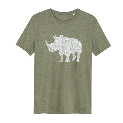 Rhino Khaki Green - Loenatix Organic Cotton Fairtrade T-shirt Animal Print T-shirt color Khaki Green