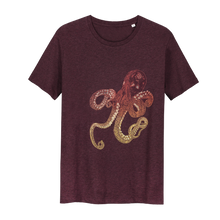 Afbeelding in Gallery-weergave laden, Octopus T-shirt Inktvis t-shirt Glow in the Dark T-shirt - Loenatix T-shirt color Bordeaux  Heather Grape Red