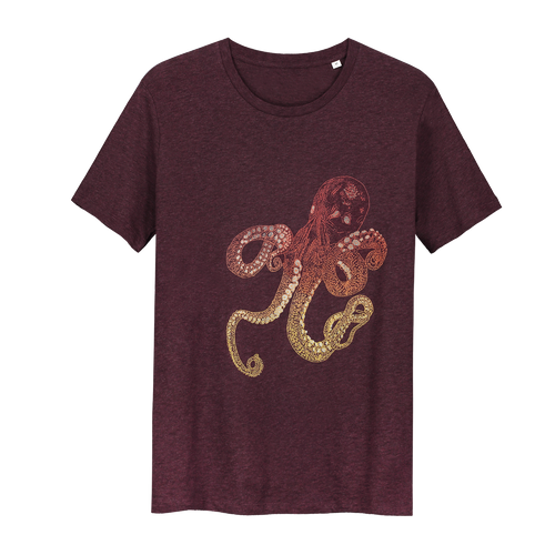 Octopus Bordo Glow in the Dark - Loenatix Organic Fairtrade T-shirt Animal Print T-shirt color Bordeaux