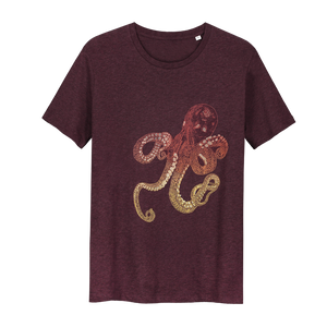 Octopus T-shirt Inktvis t-shirt Glow in the Dark T-shirt - Loenatix T-shirt color Bordeaux  Heather Grape Red