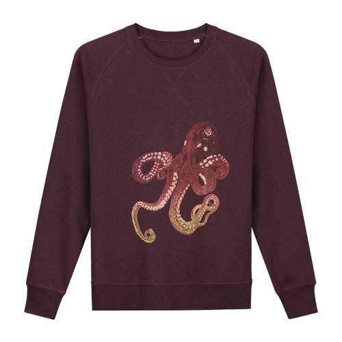 Octopus Bordo Glow in the Dark Sweater - Loenatix Organic Fairtrade Sweater color Bordeaux