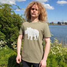 Load image into Gallery viewer, Rhino Khaki Green - Loenatix Organic Cotton Fairtrade T-shirt Animal Print T-shirt color Khaki Green on Model