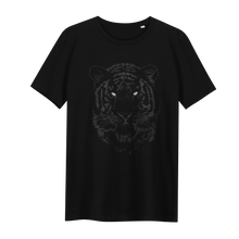 Load image into Gallery viewer, Tiger Black Glow in the Dark - Loenatix Eco Cotton Fairtrade T-shirt Animal Print T-shirt color Black