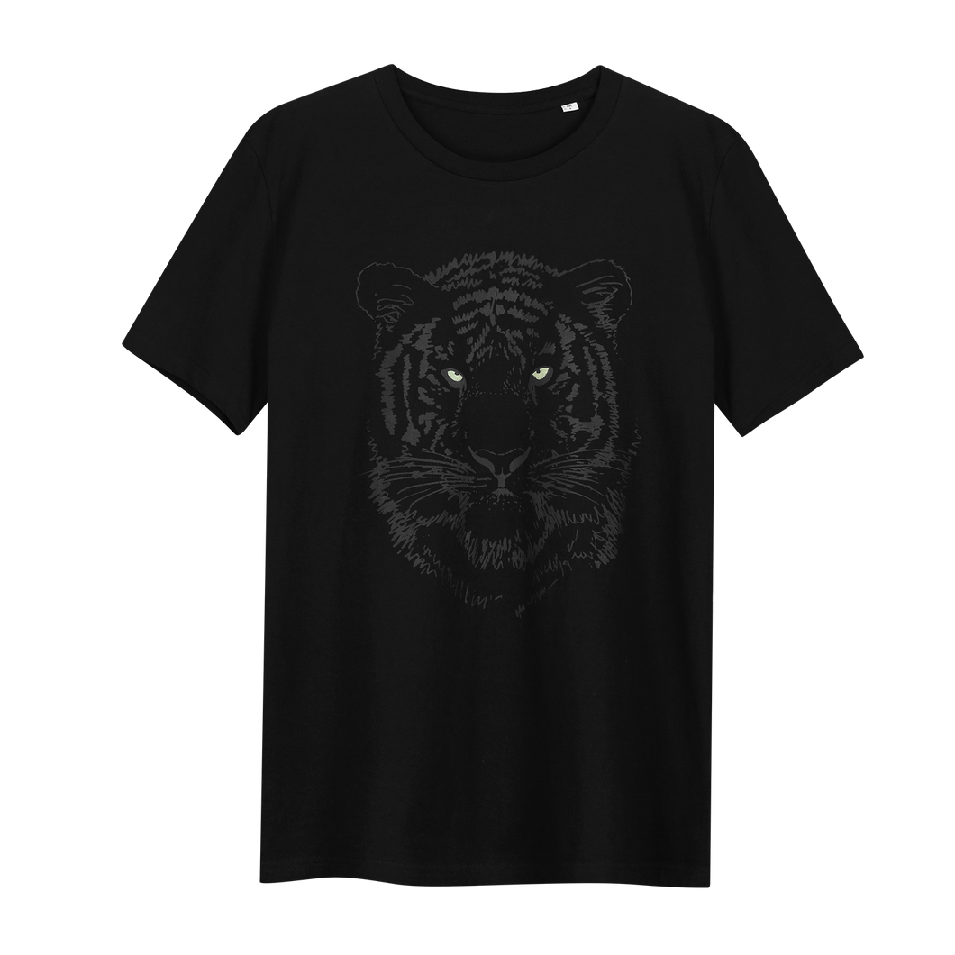 Tiger Black Glow in the Dark - Loenatix Eco Cotton Fairtrade T-shirt Animal Print T-shirt color Black