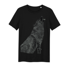 Load image into Gallery viewer, Wolf Black Glow in the Dark - Loenatix Eco Cotton Fairtrade T-shirt Animal Print T-shirt color Black