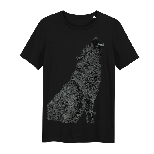 Wolf Black Glow in the Dark - Loenatix Eco Cotton Fairtrade T-shirt Animal Print T-shirt color Black