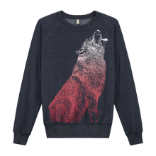 Load image into Gallery viewer, Wolf Navy Recycled - Loenatix Organic Cotton Fairtrade Sweater Animal Print Sweater color Navy