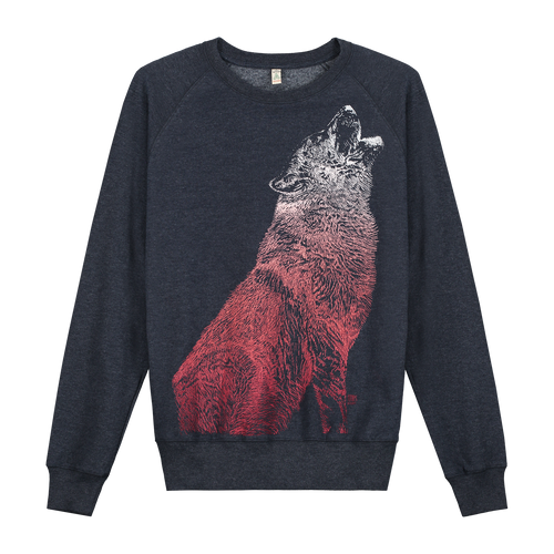 Wolf Navy Recycled - Loenatix Organic Cotton Fairtrade Sweater Animal Print Sweater color Navy