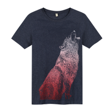 Load image into Gallery viewer, Wolf Navy Recycled - Loenatix Organic Cotton Fairtrade T-shirt Animal Print T-shirt color Navy