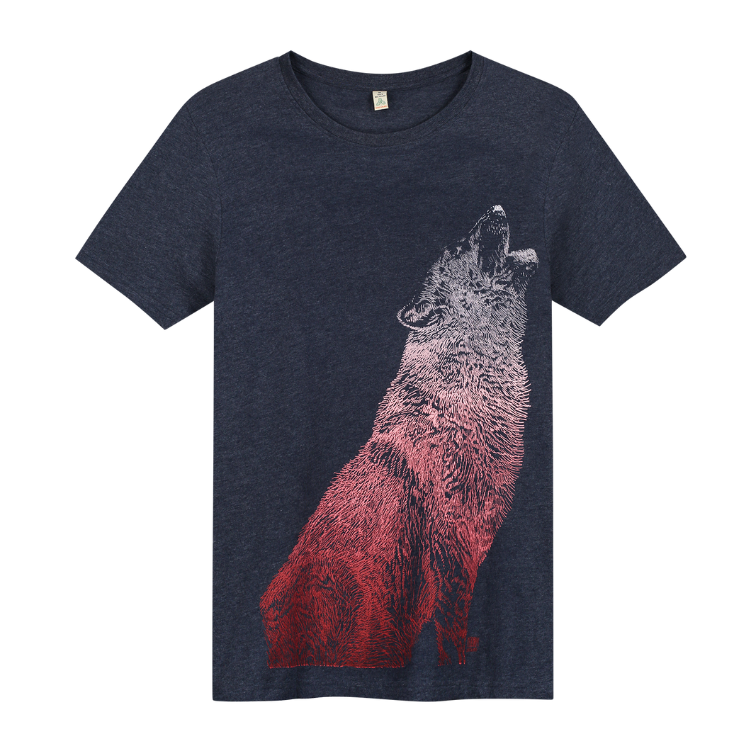 Wolf Navy Recycled - Loenatix Organic Cotton Fairtrade T-shirt Animal Print T-shirt color Navy