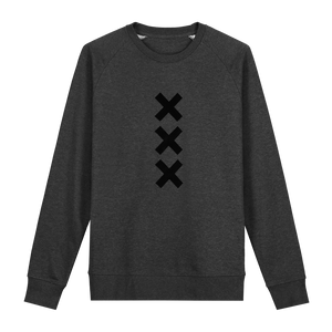 XXX Amsterdam Dark Heather Grey (Black) - Loenatix Fairtrade Sweater color Dark Heather Grey Amsterdam Sweater