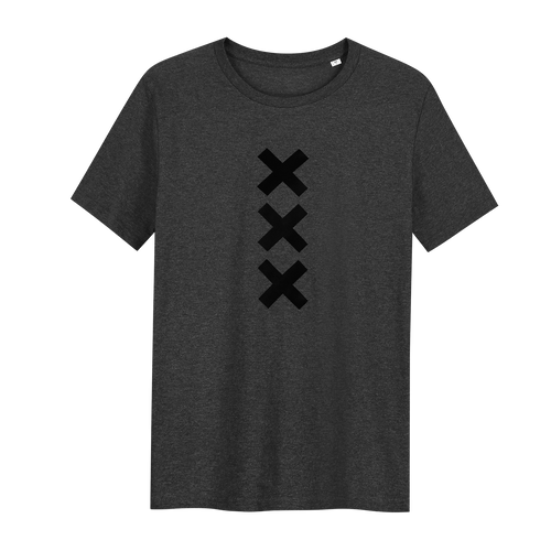 XXX Amsterdam Dark Heather Grey (Black) - Loenatix Fairtrade T-shirt Amsterdam T-shirt color Dark Heather Grey