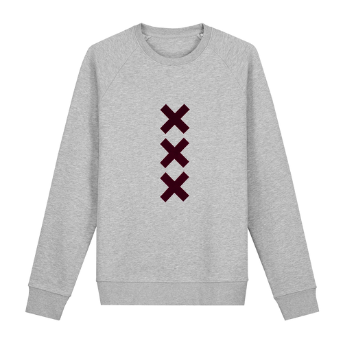 XXX Amsterdam Grey (Burgundy) - Loenatix Eco Cotton Fairtrade Sweater Amsterdam Sweater color Heather Grey