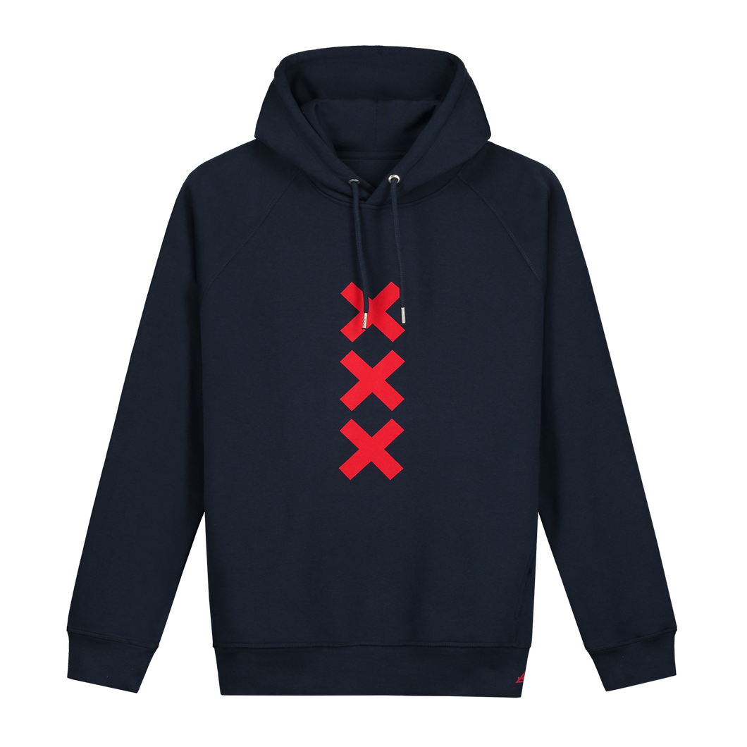 XXX Amsterdam Navy (Red) Hoodie - Loenatix Organic Cotton Fairtrade Hoodie Amsterdam Hoodie color Navy with 3 Velvet Red Amsterdam Crosses