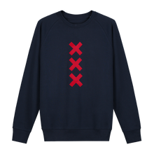 Load image into Gallery viewer, XXX Amsterdam Navy (Red) Sweater Jumper - Loenatix Organic Cotton Fairtrade Sweater Amsterdam Sweater color Navy with 3 Red Amsterdam Crosses