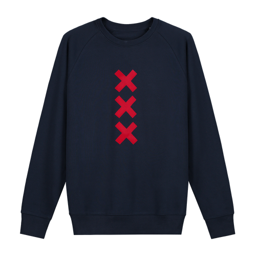 XXX Amsterdam Navy (Red) - Loenatix Organic Cotton Fairtrade Sweater Amsterdam Sweater color Navy