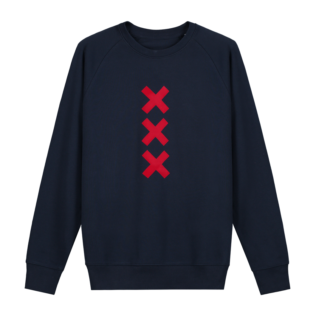 XXX Amsterdam Navy (Red) Sweater Jumper - Loenatix Organic Cotton Fairtrade Sweater Amsterdam Sweater color Navy with 3 Red Amsterdam Crosses