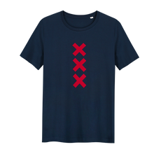 Load image into Gallery viewer, XXX Amsterdam Navy (Red) T-shirt - Loenatix Organic Cotton Fairtrade T-shirt Amsterdam T-shirt color Navy with 3 Velvet Red Amsterdam Crosses