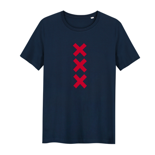 XXX Amsterdam Navy (Red) - Loenatix Organic Cotton Fairtrade T-shirt Amsterdam T-shirt color Navy