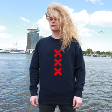 Load image into Gallery viewer, XXX Amsterdam Navy (Red) - Loenatix Organic Cotton Fairtrade Sweater Amsterdam Sweater color Navy on Model