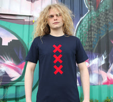 Load image into Gallery viewer, XXX Amsterdam Navy (Red) - Loenatix Organic Cotton Fairtrade T-shirt Amsterdam T-shirt color Navy on Model