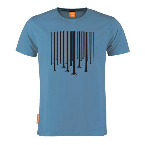 Okimono A Forest Blue Barcode The Cure Graphic T-shirt Round neck T-shirt