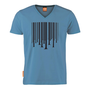 Okimono A Forest Blue Barcode The Cure Graphic T-shirt V-neck T-shirt