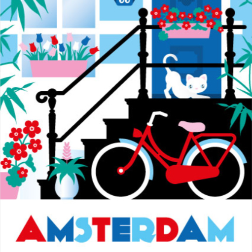 Coasters Amsterdam Canal Houses Colorful Bike Cat Steps Tulips