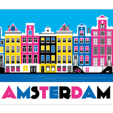 Load image into Gallery viewer, Coasters Amsterdam Canal Houses Colorful Bike Cat Keizersgracht