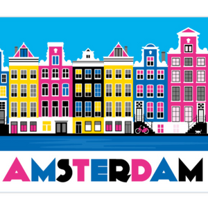 Coasters Amsterdam Canal Houses Colorful Bike Cat Keizersgracht