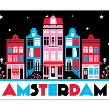 Load image into Gallery viewer, Coasters Amsterdam Canal Houses Red Black Red Light District Bike Cat Nieuwmarkt