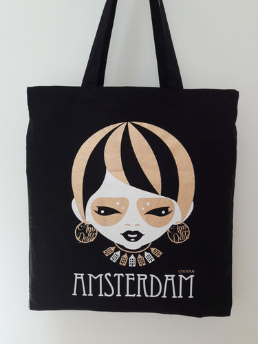 Totebag Amsterdam   Amsterdam Lady in Gold with Amsterdam Canal House necklace