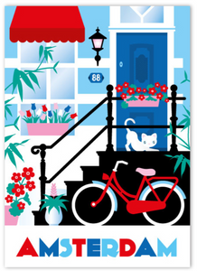 Postcard Amsterdam Canal House Steps Cat Bike Tulips Keizersgracht