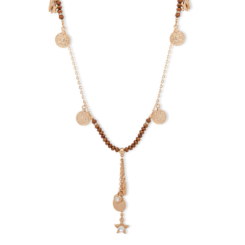 Bibi Bijoux long Bronze beaded necklace