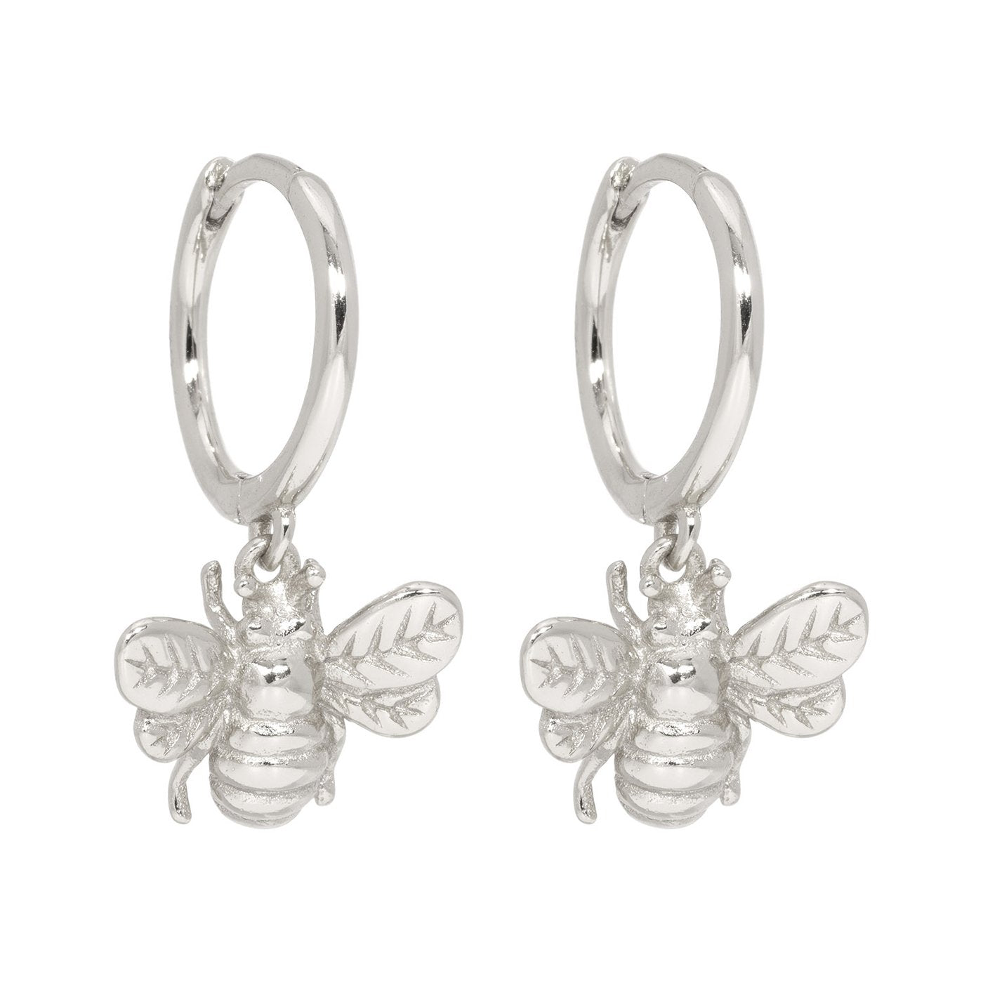 Lillys Amsterdam Silver Bee Huggie Earrings