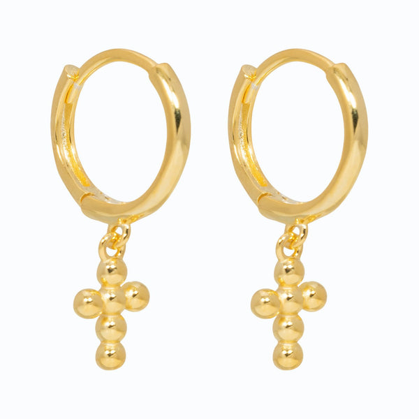 Lillys Amsterdam Gold Bubble Cross Earrings