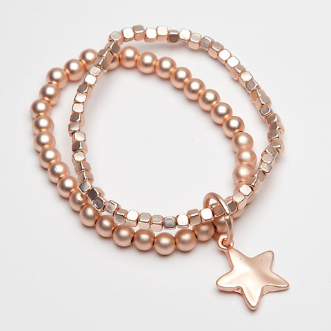 Eliza Gracious Rose Gold Double Star Bracelet