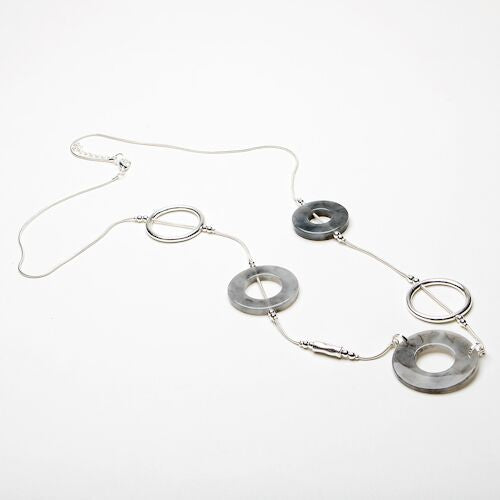 Eliza Gracious, Grey Resin circle necklace