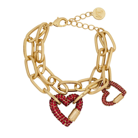 KT Bibi Bijoux Gold Double Row Pave Heart Necklace