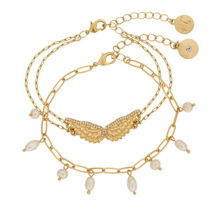 KT Bibi Bijoux Guardian Angel Double Row Pearl Bracelet