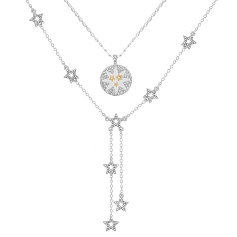 KT Bibi Bijoux Silver Double Row Star Necklace