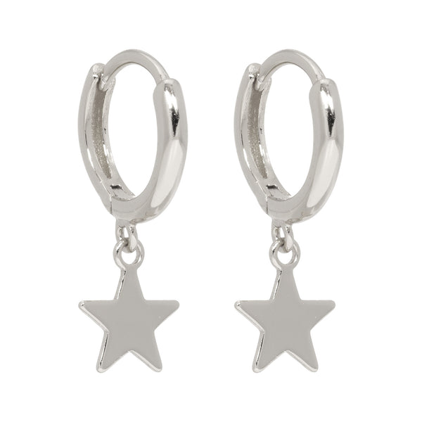 Lillys Amsterdam Silver Star Huggie Hoop Earrings